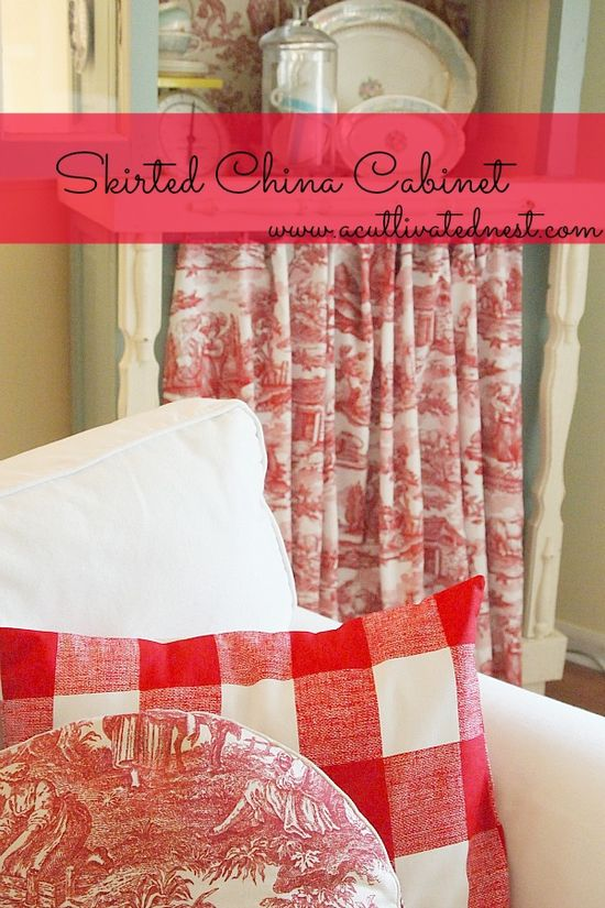 Easy DIY skirted china cabinet
