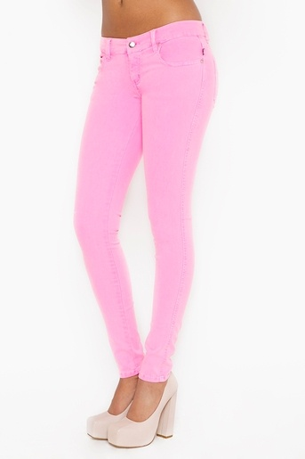 neon skinny jeans--pink