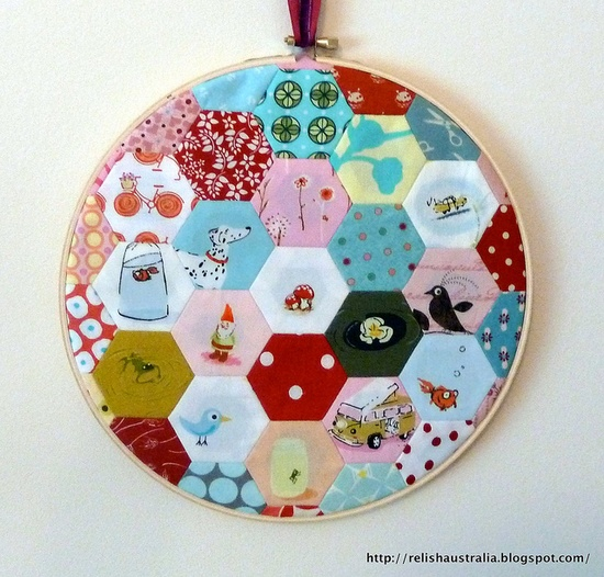 Hoop - super fussy cut hexagons.