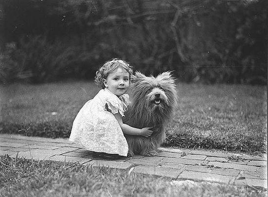 Little dog. Little girl.