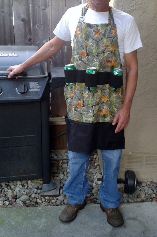 Men's Apron with Can Holders In Hunters Leaves Print Men's Pocket Apron  Men's BBQ Apron Men's Apron  OOAK on Etsy, $32.00