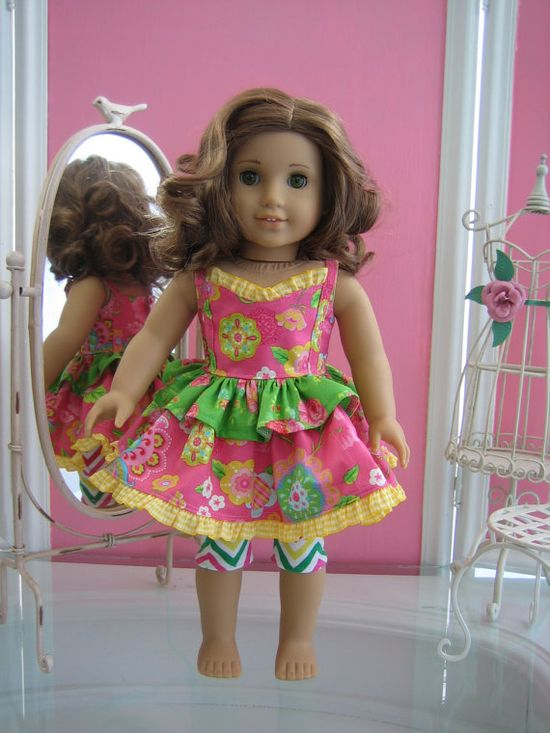 Sundress and leggings made to fit 18 inch American by MenaBella, $18.95