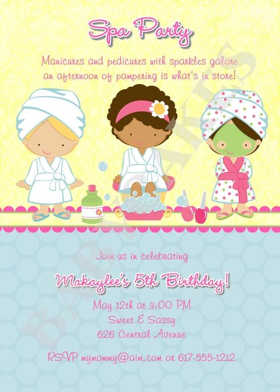 Spa Party Birthday Invitation - DIY Print Your Own. $12.00, via Etsy.