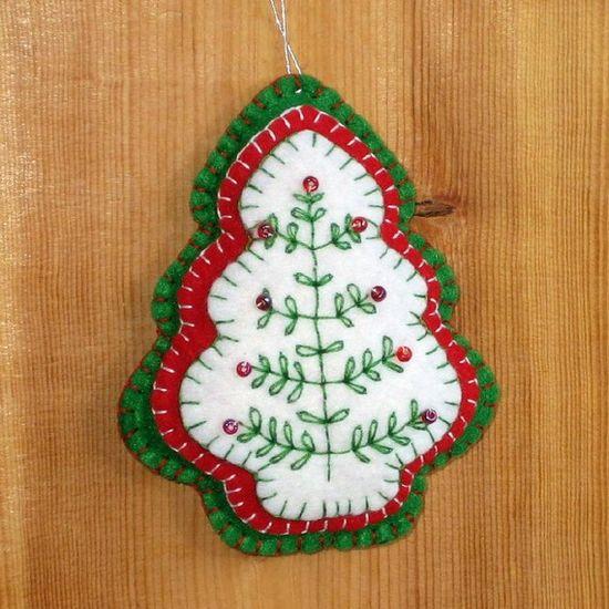 Felt Christmas Tree Ornament Red Green Beaded. $5,00, via Etsy.