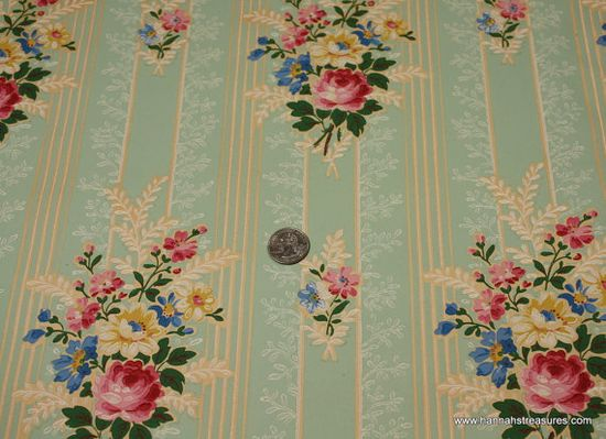 1940's Vintage Wallpaper Pink Rose and Yellow ? by HannahsTreasures, $14.00