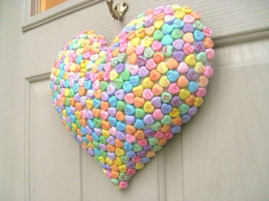 wreath for valentines day with heart candies