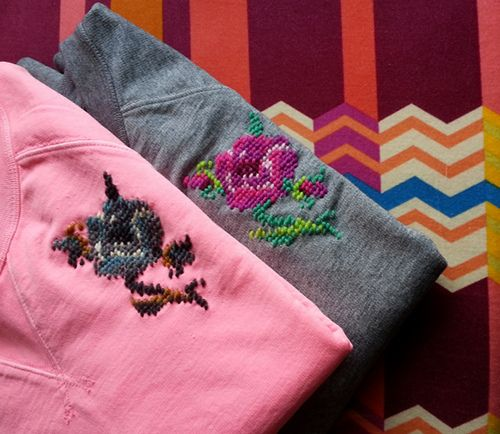 needlepoint cross stitch sweatshirts / tees #prep