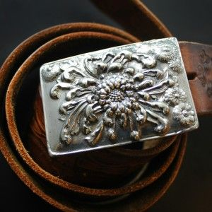 Mum Blossom Belt Buckle in White Bronze « SilverBotanica – Handmade Jewelry designed by Alicia Hanson and Hi Octane Industries Inc.