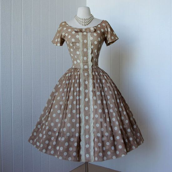 vintage 1950s dress  ...dior inspired GIGI YOUNG nude by traven7