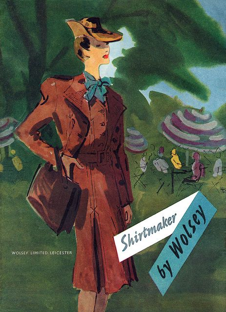 A lovely cocoa brown dress and matching jacket from 1944. #vintage #fashion #1940s #illustration #ad