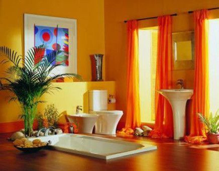 Colorful bathroom design interior