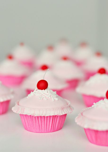 Fabulously cute, super girly Pinkalicious Cherry Cupcakes. #pink #cute #kawaii #girly #birthday #party #cherry #dessert #food #baking #cake #cupcakes #decorated