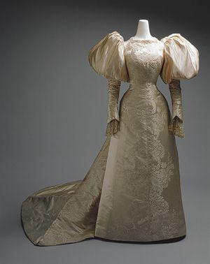~Wedding dress, 1898. House of Worth (French, 1858–1956) Silk, pearl~