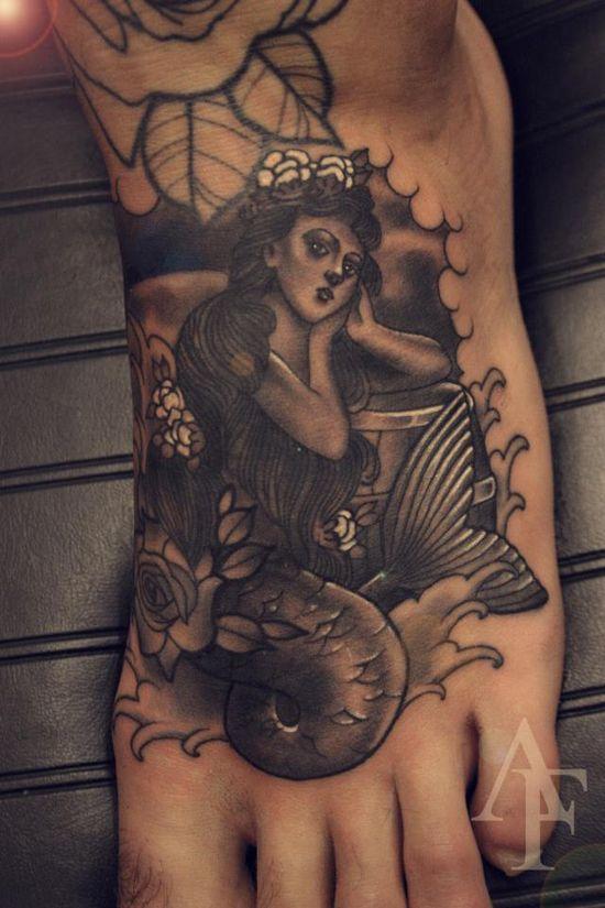 Mermaid on the foot. #tattoo #tattoos #ink