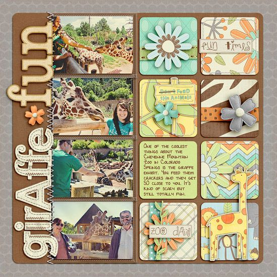 #papercraft #scrapbook #layout great multi-photo design for the zoo!  I'm going to use the fluffy & fido paper pack (www.mycmsite.com/...) for the squares  #scrapbooking