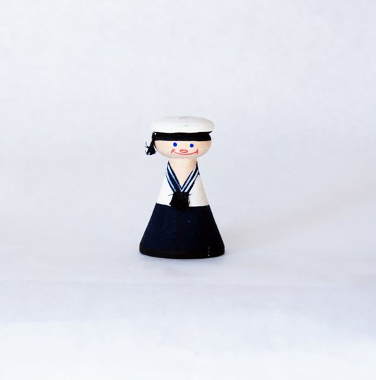 Vintage Wooden Sailor Doll Figurine Toy 1960s