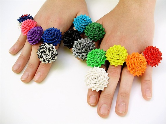I'm not sure if I can do this, but these duct tape rose rings are awfully adorable.