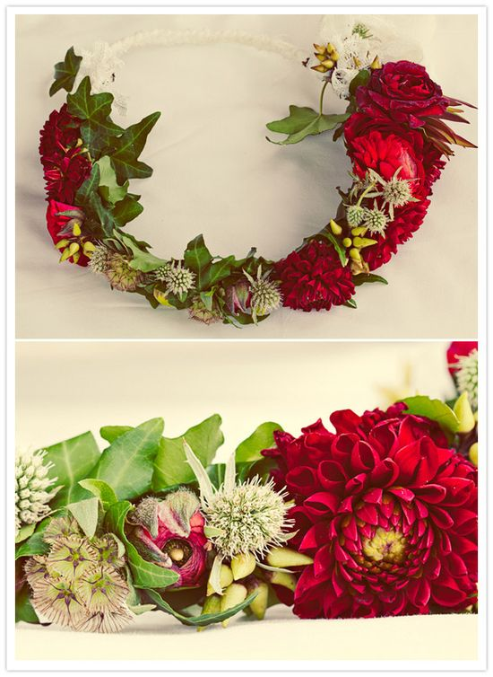 Red and green floral crown