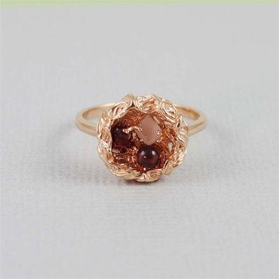 Handmade Rose Gold Raw Gemstone Bird Nest Ring