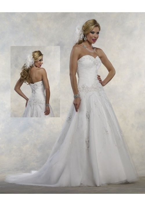 Appliqued Motif Accents Bodice A-Line Style with Beading Accents Skirt Lucky Wedding Dress