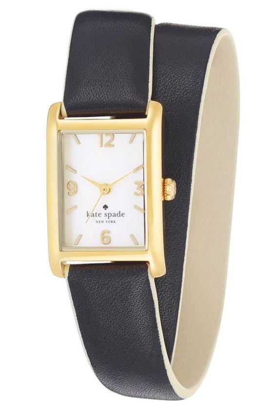 Stylish! kate spade new york leahter wrap watch.