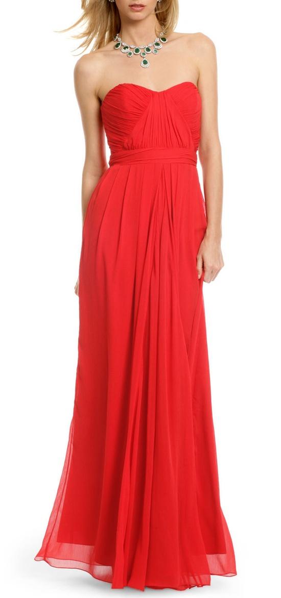 Red Chiffon Gown / BADGLEY MISCHKA - love