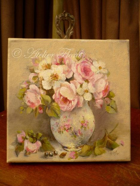 Pale Rose bouquet & camellia- Original painting  Helen Flont. via Etsy.???? ?K8?????