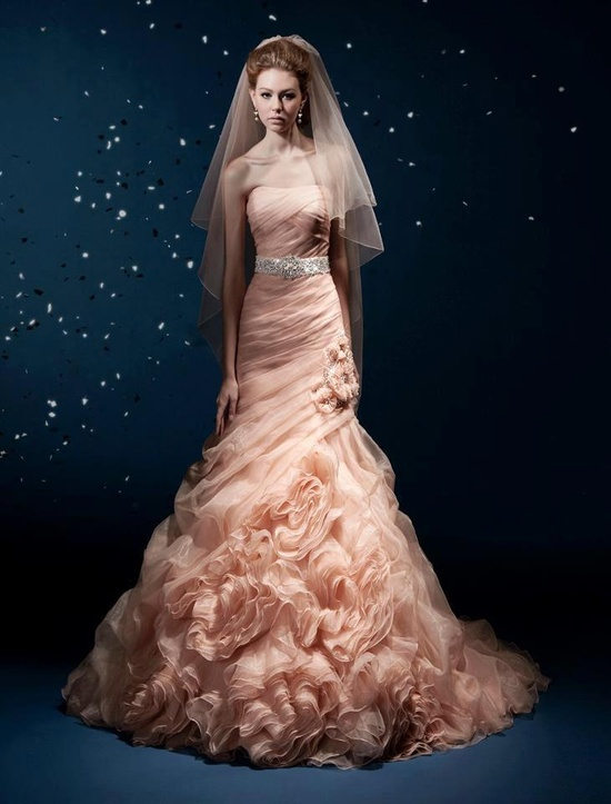 gorgeous peachy pink wedding gown by Kitty Chen Couture.
