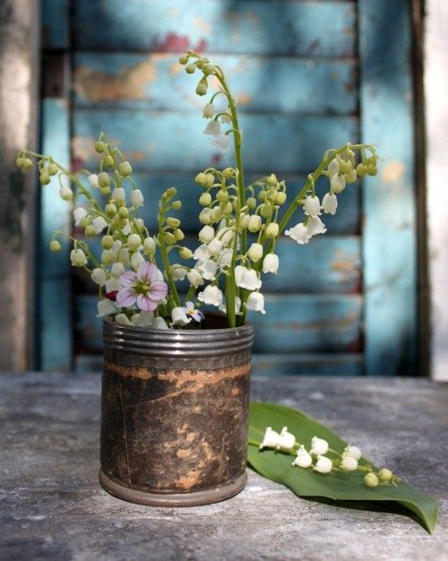 flowers in a tin...