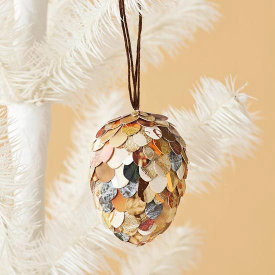 How pretty! We love this paper pinecone Christmas ornament. See more ornament ideas: www.bhg.com/...