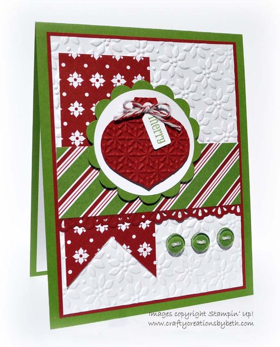 Handmade Christmas Card  Dry Embossed by CardCreationsbyBeth, $3.00