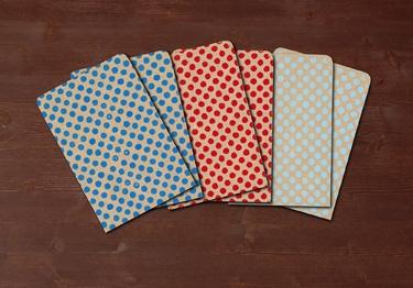 Polka dots - 6 handmade gift bags