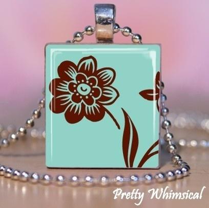 "Scrabble Tile Pendant ""TEAL BROWN FLOWER"" $7"