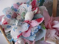 Basket of Handmade Fabric Flowers