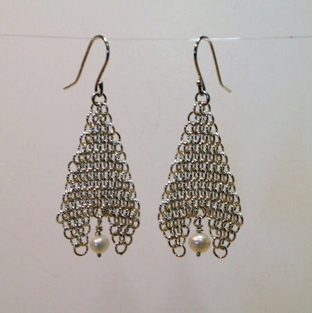 Chainmaille and Pearl Earrings by andyhight on Etsy, $79.00