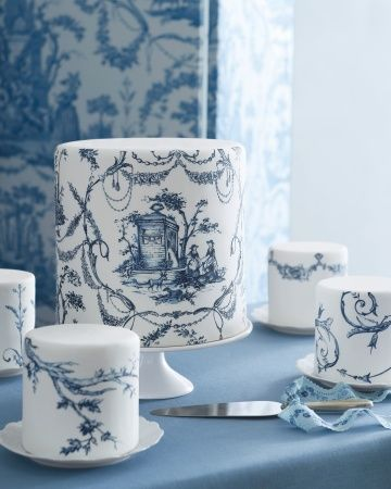 Hand painted blue and white #wedding #cake by The Master Painter