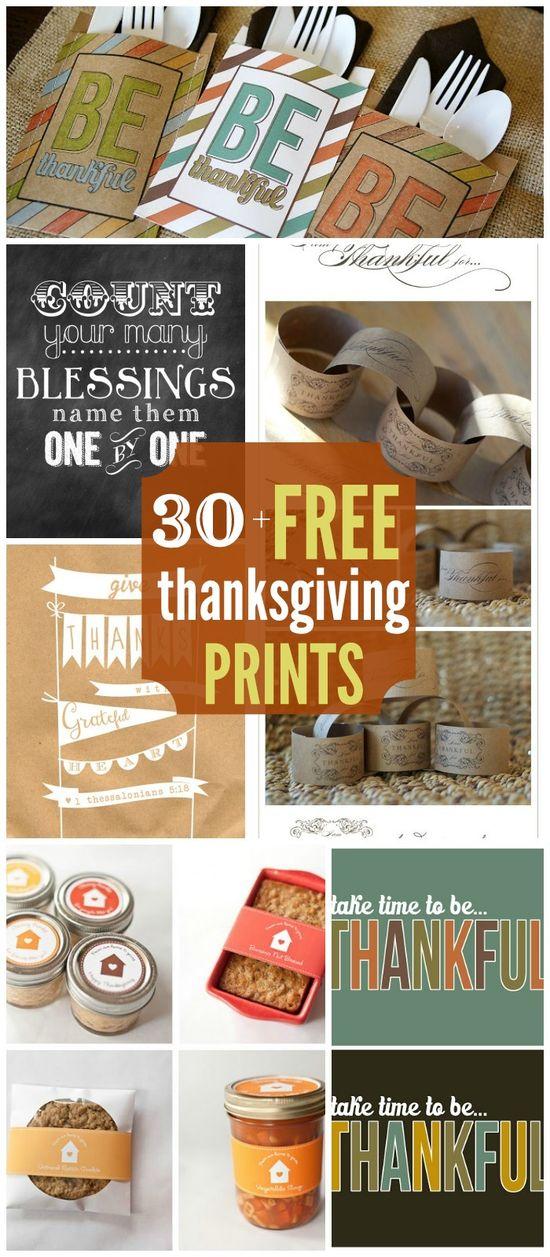30+ FREE Thanksgiving Printables on { lilluna.com } #thanksgiving