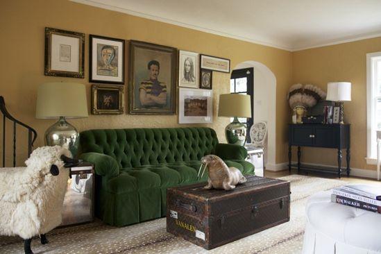 green sofa.