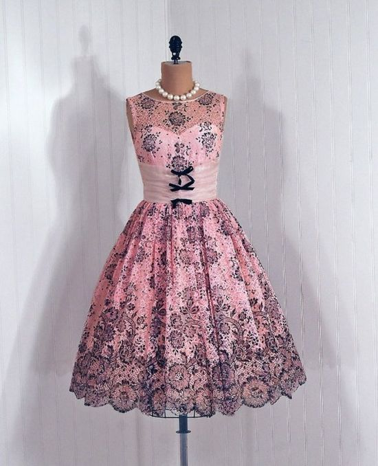 Wowzers!! 1950's Vintage Pink and Black Floral Print Lace Dress #1950s #fashion #party #dress