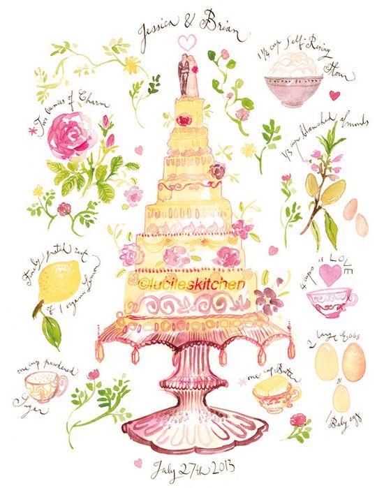 Custom Wedding Cake Recipe Watercolor Painting Print, Personalized Wedding Art Gift, Home decor.