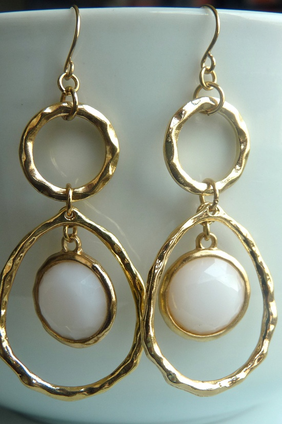 GRAND OPENING SALE 25% Off.  Hammered Golden Hoop White Dangle Earrings 108. $25.00, via Etsy.