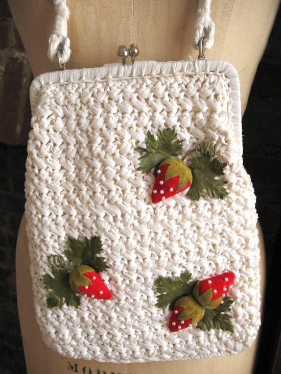 Vintage Summer Strawberries White Raffia by TheSparklingCocktail, $75.00