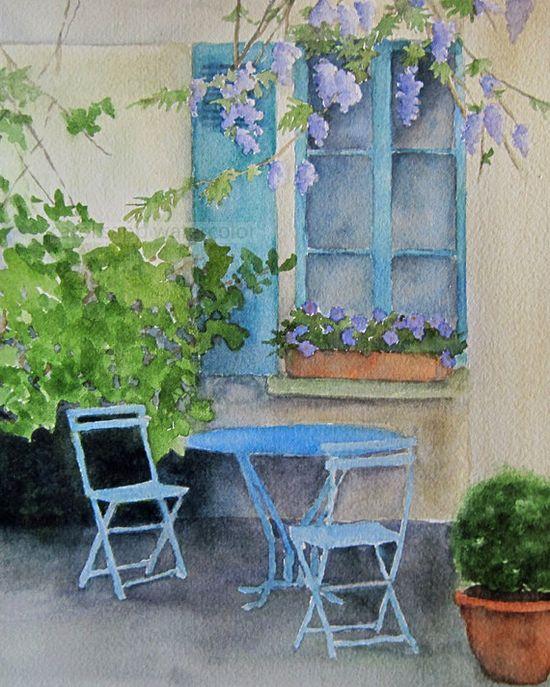 """French courtyard 8"""" x 10"""" by Carol Sapp"""