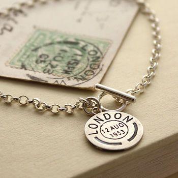 Personalised Vintage Style Postmark Bracelet