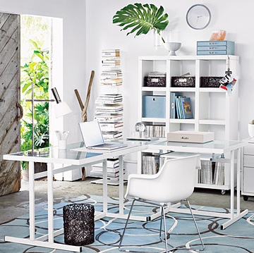 white and blue workspace