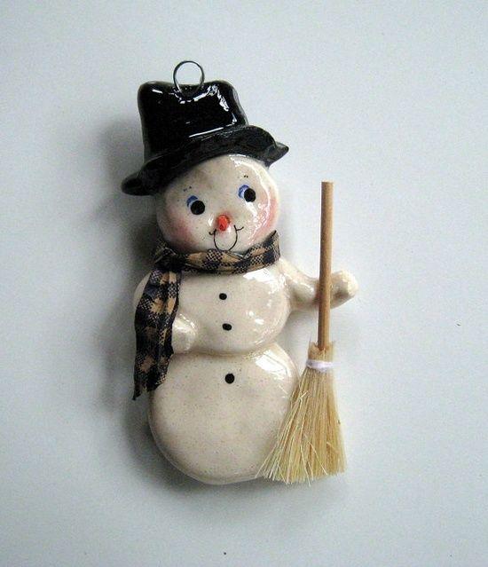 Snowman Christmas Ornament handmade bread dough. $15.95, via
