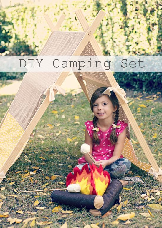"DIY camping set... so cute! All the kids could make their own to ""camp"" under. Rent a party tent where all the kids have their own ""tent"" and are all out of the elements but not inside."