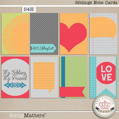 Free Siblings Journal Cards from Cluster Queen Creations