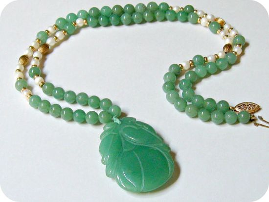 Vintage Carved Jade Bead Necklace Pearls and Gold
