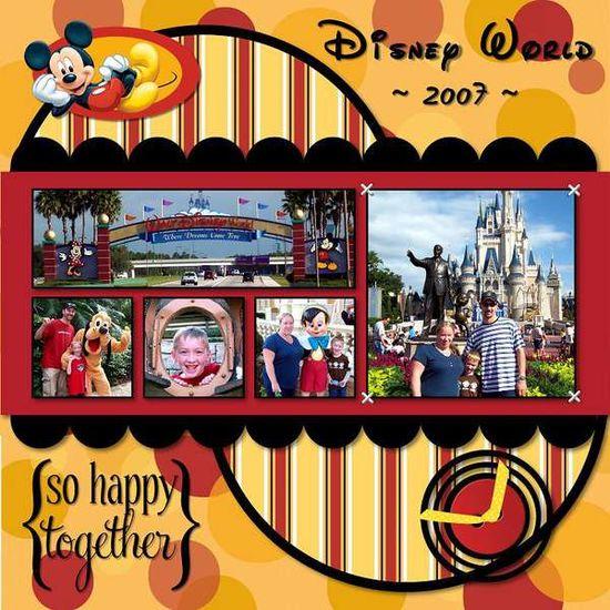 Disney World scrapbook layout